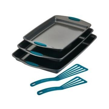 Rachael Ray Nonstick Bakeware Cookie Pan and Turner Spatula Set, 5-Pc, Marine Blue Handles