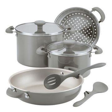 Rachael Ray Get Cooking! Stackable Nonstick Cookware Set, 8-Piece