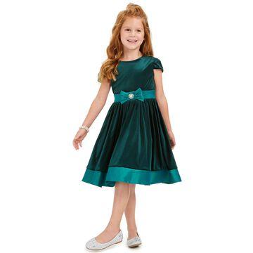 Toddler Girls Velvet Bow Dress