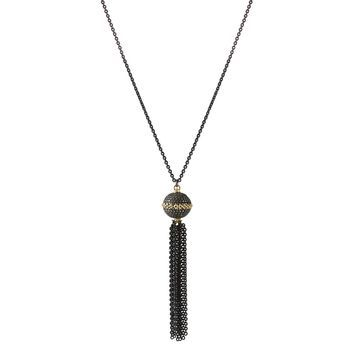 Old World Diamond Tassel Necklace w/ 18K Gold