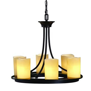 allen + roth Harpwell 6-Light Oil-Rubbed Bronze Traditional Tinted Glass Shaded Chandelier