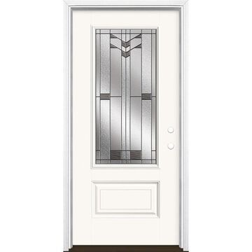 Masonite Frontier 36-in x 80-in Fiberglass 3/4 Lite Left-Hand Inswing Modern White Painted Prehung Single Front Door with Brickmould