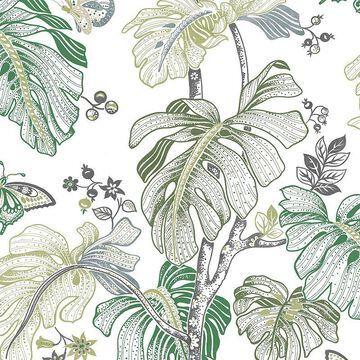 Roommates Boho Palm Peel & Stick Wallpaper, Green