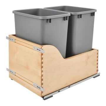 Double 35 Quart Pullout Waste Container, 15