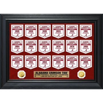 Highland Mint Alabama Crimson Tide 18-Time Football National Champions 18'' x 22'' Gold Deluxe Banner