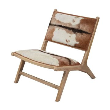 LS Dimond Home Goatskin Leather Chair Lounger