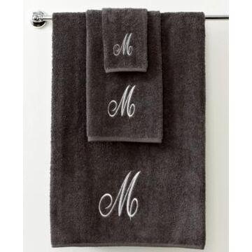 Avanti Bath Towels, Monogram Initial Script Granite and Silver 16