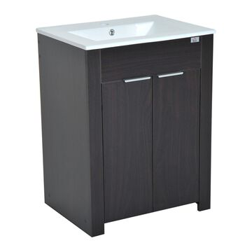 HomCom 24 Single Sink Bathroom Vanity Cabinet with Ceramic Sink Top - Dark Coffee