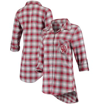 Women's Concepts Sport Crimson/Gray Indiana Hoosiers Forge Rayon Flannel Long Sleeve Button-Up Shirt