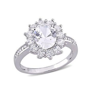 4 Carat T.G.W. Created White Sapphire and Diamond-Accent Sterling Silver Halo Ring