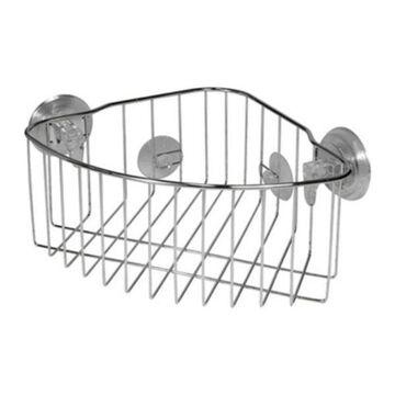 Interdesign 41820 Reo Power Lock Suction Corner Basket, Stainless Steel