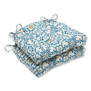 Pillow Perfect Souvenir Scroll Chair Pads in Blue (Set of 2)