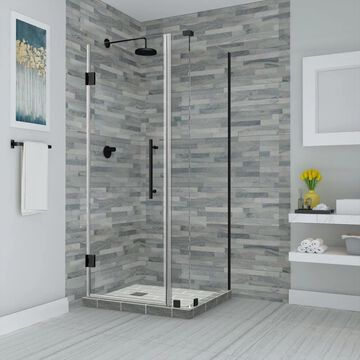 Aston Bromley 72-in H x 32.25-in to 33.25-in W Frameless Hinged Shower Door (Clear Glass)   SEN967EZORB33273610