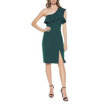 Ruffled One-Shoulder Cocktail Dress