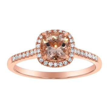 14k Rose Gold Diamonds and Cusion Morganite Halo Ring by Beverly Hills Charm