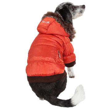 Pet Life Metallic Orange Dog Parka, Small