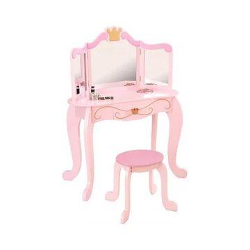 KidKraft Princess 2 Piece Kids Vanity Set in Pink