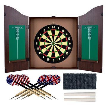 Dartboard Cabinet Set with Realistic Walnut Finish by Trademark Gameroom