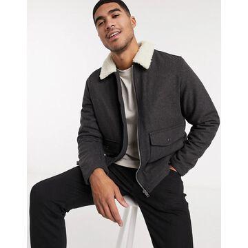 New Look harrington jacket in wool mix-Gray