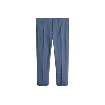 MANGO MAN - Tapered fit pleated pants dark navy - 28 - Men