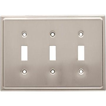 Franklin Brass Country Fair Triple Switch Wall Plate in Satin Nickel
