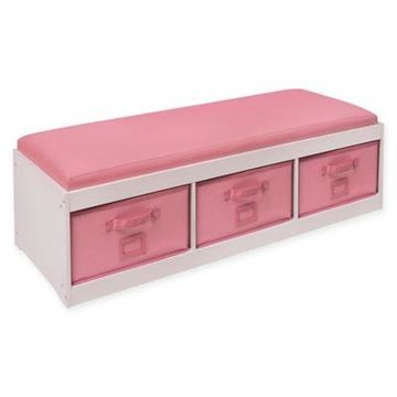 Badger Basket Kid's Storage Bench with Cushion and 3 Bins in White/Pink