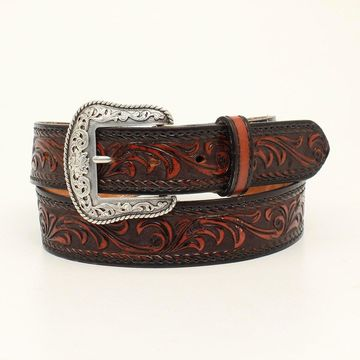 Nocona N2300167-36 Mens Tucson Stitched Edge Embossed Belt & Buckle, Black & Tan - Size 36