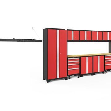 NewAge Products Bold Series 156-in W x 77.25-in H Deep Red Steel Garage Storage System | 51565
