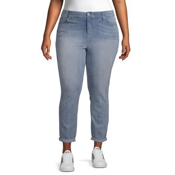 Almost Famous - Juniors Plus Womens Mid Rise Ankle Regular Fit Jean