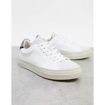 Selected Homme premium leather sneakers with thick sole in white & vintage