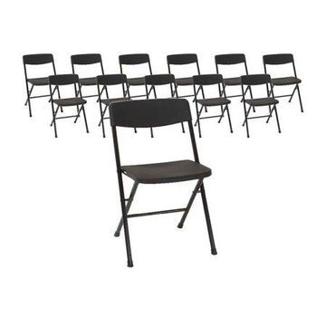 Cosco (12 Pack) Home and Office Resin Folding Chair in Black