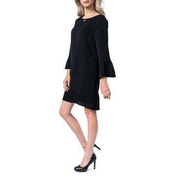 Flare-Sleeve Shift Dress