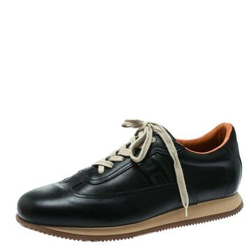 Hermes Black Leather Quick Sneakers Size 47