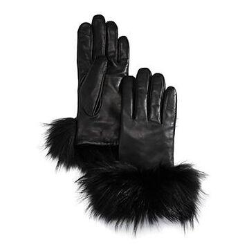 Echo Asiatic Raccoon Fur-Cuff Leather Tech Gloves