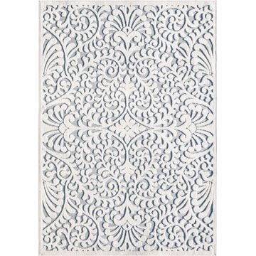 Orian Rugs My Texas House Bluebonnets 8 x 11 Natural/Blue Indoor or Outdoor Damask Farmhouse/Cottage Area Rug in Off-White   436396