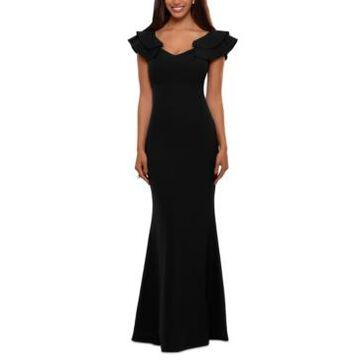 Betsy & Adam Ruffled-Strap Gown