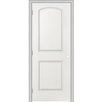 Masonite Roman 36-in x 80-in (Primed) 2-Panel Round Top Hollow Core Primed Molded Composite Right Hand Single Prehung Interior Door in White   743650