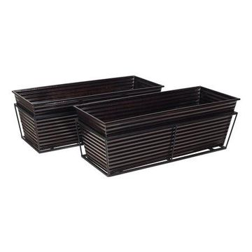 Mainstays Black Metal Balcony Planters, Set of Two