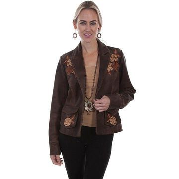 Scully L760-429-SM Leather Blazer Floral Embroidered Jacket, Brown - Small