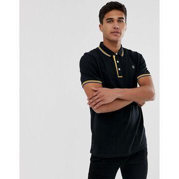 Jack & Jones Core contrast collar tipped logo polo in black