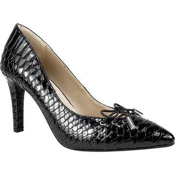Rialto Women's Mully Pointed Toe Pump Black Patent Snake Polyurethane