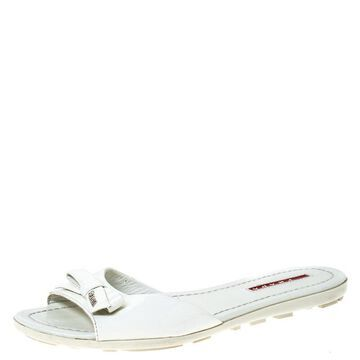 Prada White Patent Leather Bow Flats Size 36