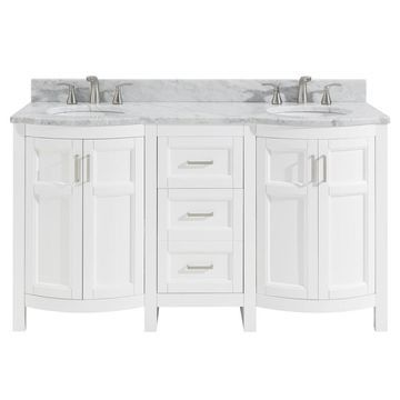 allen + roth Moravia 60-in White Double Sink Bathroom Vanity with Natural Carrara Marble Top