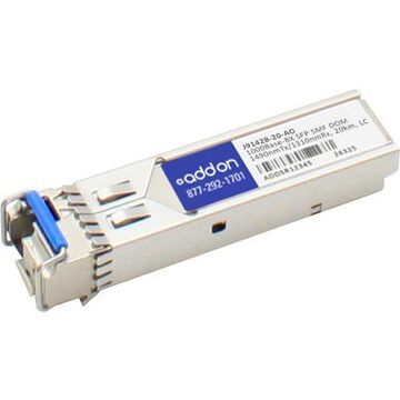 AddOn HP J9142B Compatible TAA Compliant 1000Base-BX SFP Transceiver (SMF, 1490nmTx/1310nmRx, 20km, LC, DOM)
