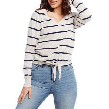 Striped Long-Sleeve Tie-Hem Cotton-Linen Sweater