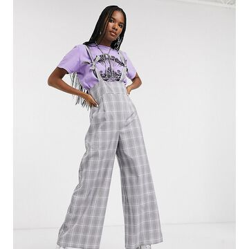 Reclaimed Vintage inspired suspenders jumpsuit with knot detail in lilac check-Multi