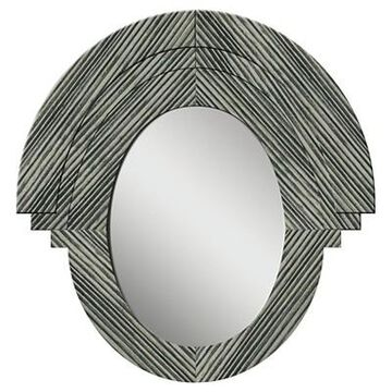 Oval Western Rustic Wood Decorative Wall Mirror Gray - PTM Images