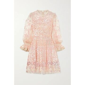 Needle & Thread - Lace-trimmed Sequin-embellished Tulle Mini Dress - Blush