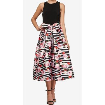 SL Fashions Black Whit Womens Size 10 Floral Belted Sheath Dress