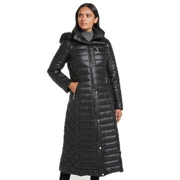 Women's Gallery Faux-Fur Hooded Long Puffer Coat
